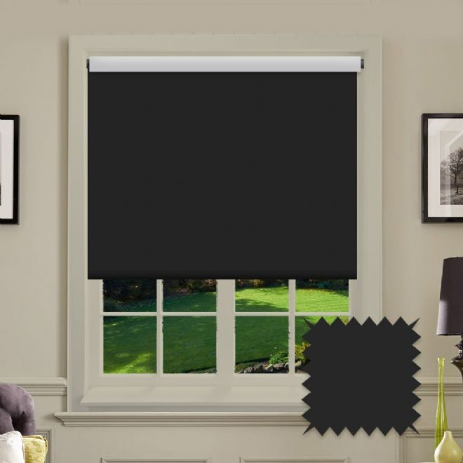 Blackout Roller Blind Bermuda Black Plain - Just Blinds